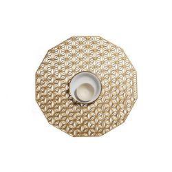 Runde Tischsets | Vinyl-Kaleidoskop | Messing