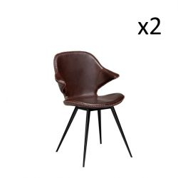 Set of 2 Chairs Karma | Cocoa Brown PU Leather & Black Legs