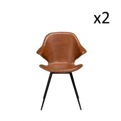 Set of 2 Chairs Karma | Light Brown PU Leather & Black Legs