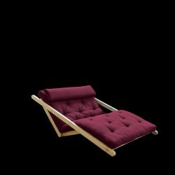 Sofabett Figo 120 | Natürlicher Rahmen + Bordeaux-Matratze