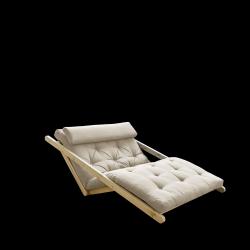 Canapé-Lit Figo 120 | Cadre Naturel + Matelas Beige