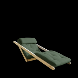 Sofabed Figo 70 | Natural Frame + Olive Green Mattress