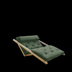 Sofabed Figo 120 | Natural Frame + Olive Green Mattress