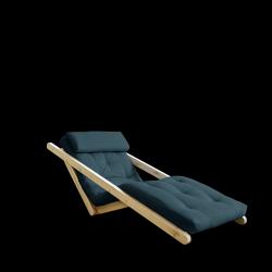 Sofabed Figo 70 | Natural Frame + Petrol Blue Mattress