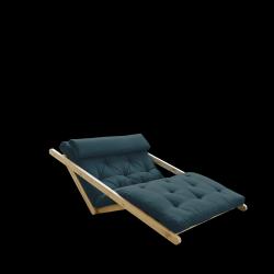 Sofabed Figo 120 | Natural Frame + Petrol Blue Mattress