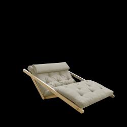 Sofabed Figo 120 | Natural Frame + Linen Mattress