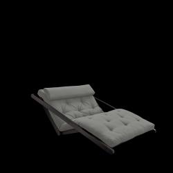 Canapé-Lit Figo 120 | Cadre Noir + Matelas Gris