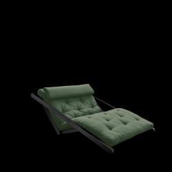 Canapé-Lit Figo 120 | Cadre Noir + Matelas Vert