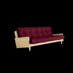 Slaapbank Indie | Frame Naturel + Matras Bordeaux