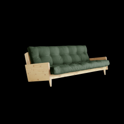 Sofabed Indie | Natural Frame + Olive Green Mattress