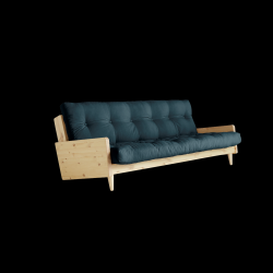 Sofabed Indie | Natural Frame + Petrol Blue Mattress