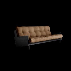 Sofabett Indie | Schwarzer Rahmen + Mocca-Matratze