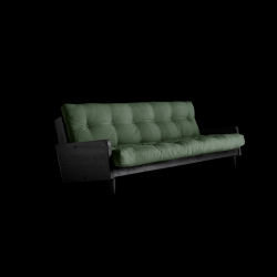 Sofabed Indie | Black Frame + Olive Green Mattress