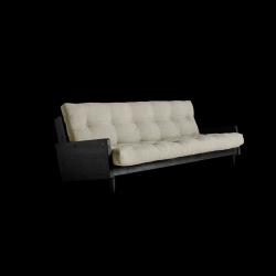 Sofabett Indie | Schwarzer Rahmen + Leinenmatratze