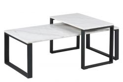 Set of 2 Coffee Tables Marina | White Marble