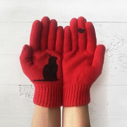 Handschuhe | Katze & Vogel | Rot