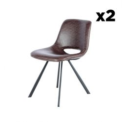 Set of 2 Chairs Hagga | Dark Brown