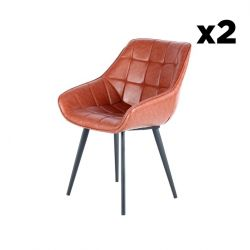 Chair Luco Set of 2 | Maroon & Black
