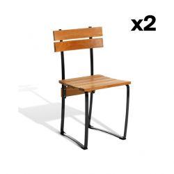 2-er Set Stühle Kerteminde | Grüner Rahmen & Teakholz