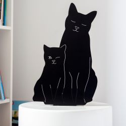 Decoupage Lamp Kitties | Black