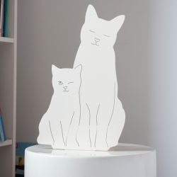 Decoupage Lamp Kitties | Ivory White