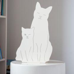 Decoupage-Lampe Kätzchen  | Ivory Weiß