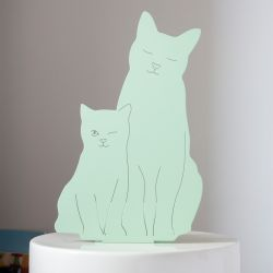 Decoupage Lamp Kitties | Mint Green