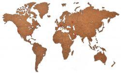 Luxus-Weltkarte aus Holz 90 x 54 cm | Braun