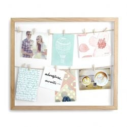 Photoframe with 12 Clips / Clothesline | Wood