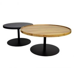 KOMBI Coffee Table Set of 2 | Black Matt & Oak