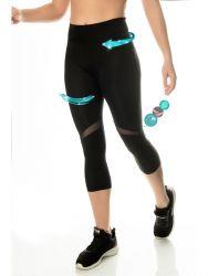 Sport Legging Capri Transparent | Schwarz
