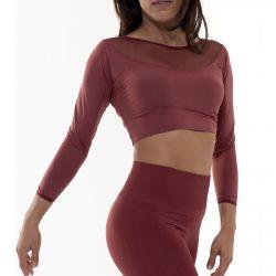 Crop Top Sport Long Sleeves Transparent Neckline | Marsala