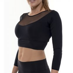 Crop Top Sport Manches Longues Transparent Encolure | Noir