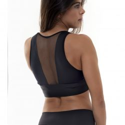 Crop Top Sport Transparentes Heck | Noir