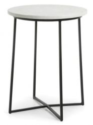 Side Table Burnet B | Metal & White Marble