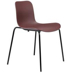 Chaise de salle à manger Langue Plastique | Cadre Noir | Bordeaux