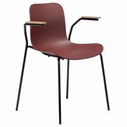 Chaise de salle à Manger avec Accoudoir Langue Plastique | Cadre Noir | Bordeaux