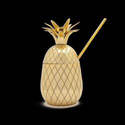 Verre Ananas Grand + Paille | Or