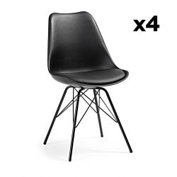 Set of 4 Chairs Lars | Black