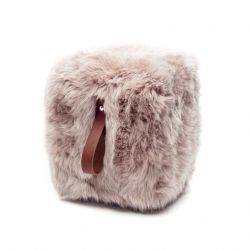 Square Sheepskin Pouf | Light Brown