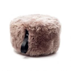 Round Sheepskin Pouf | Light Brown
