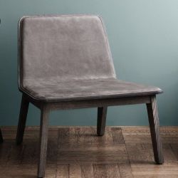 Lean Veneer Lounge Chair | Grey Oak/Nubuck
