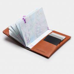 Housse de Passeport Cuir Weston | Cognac Gris