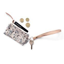 Schlüsselanhänger aus Leder mit Karten-/Münzbeutel | Terrazzo Blaugrau I