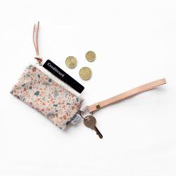 Schlüsselanhänger aus Leder mit Karten-/Münzbeutel | Terrazzo Terrakotta-Grün