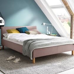 Upholstered Bed Lena 140 x 200 cm | Pink with Wooden Legs
