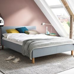 Upholstered Bed Lena 140 x 200 cm | Light Blue with Wooden Legs
