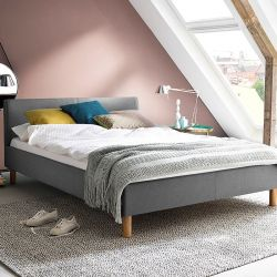 Upholstered Bed Lena 140 x 200 cm | Light Grey with Wooden Legs