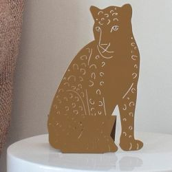 Decoupage-Lampe Leopard | Gold