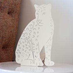 Decoupage-Lampe Leopard | Ivory Weiß